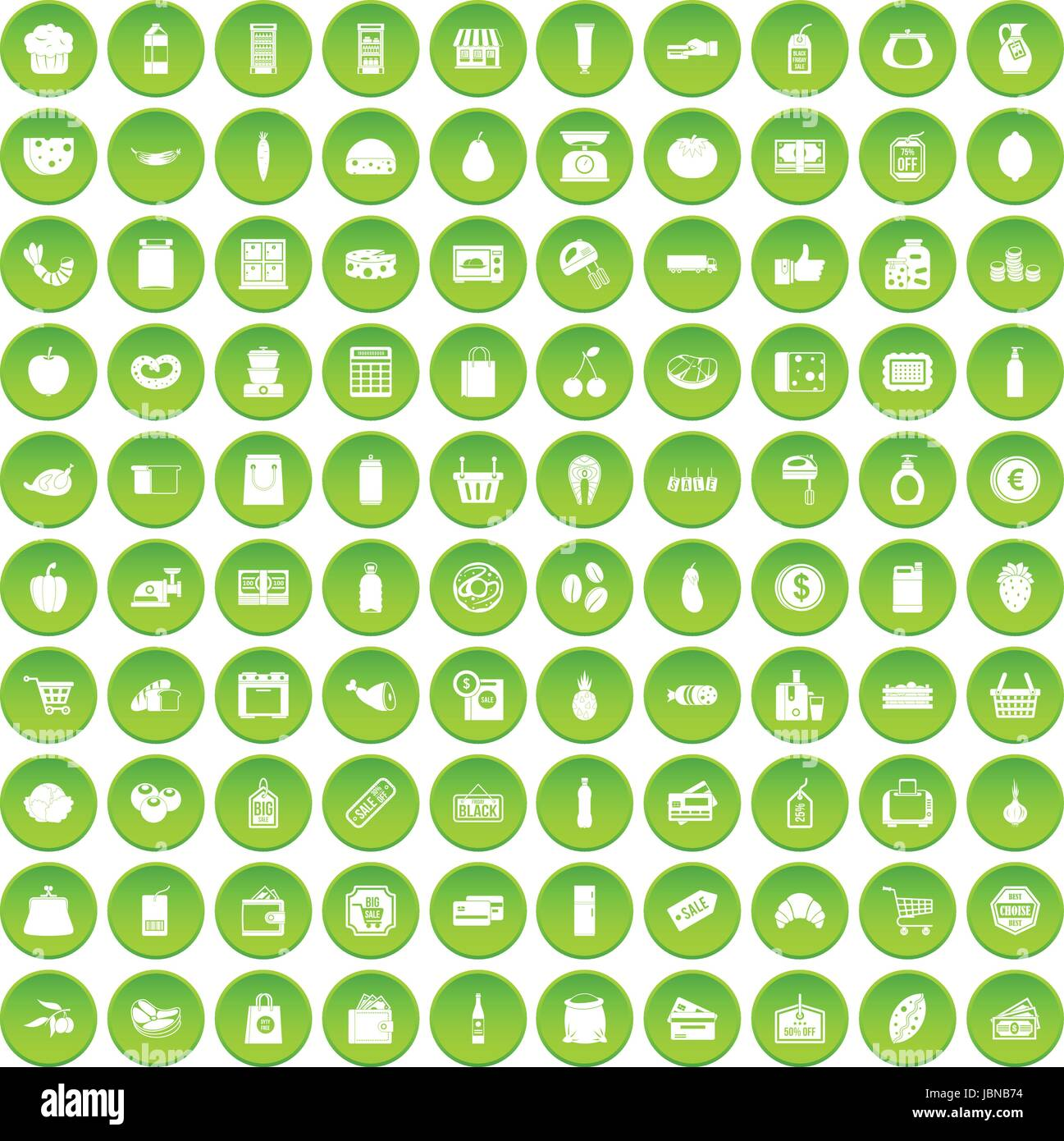 100 supermarket icons set green circle isolated on white background vector illustration Stock Vector