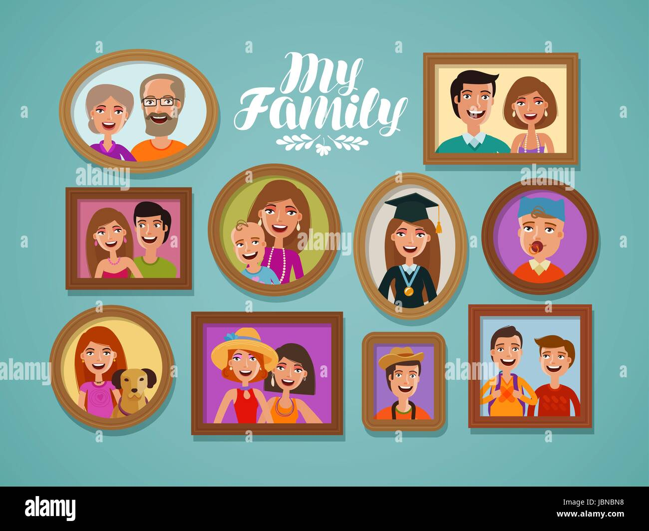 Family photos in frames. People, parents and children concept. Cartoon vector illustration - Stock Image