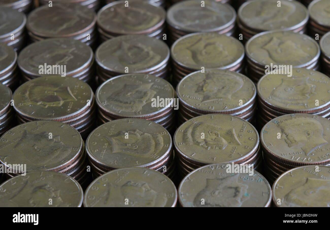 Stacks of Kennedy Half Dollars - Stock Image