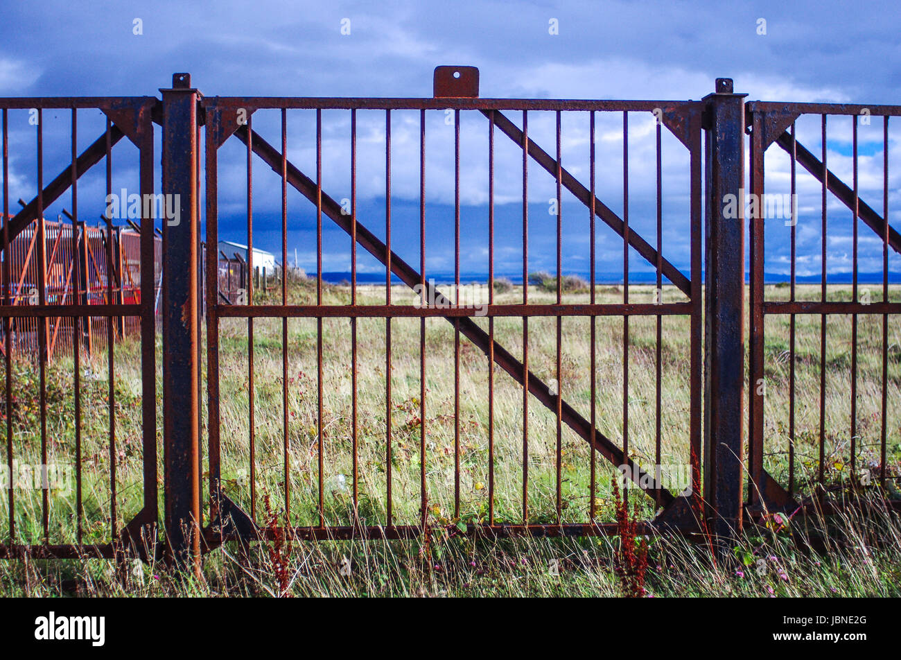 A red, iron fence or gate sits in front of a yellow field in the countrside on Arran, Scotland, Great Britain.. - Stock Image