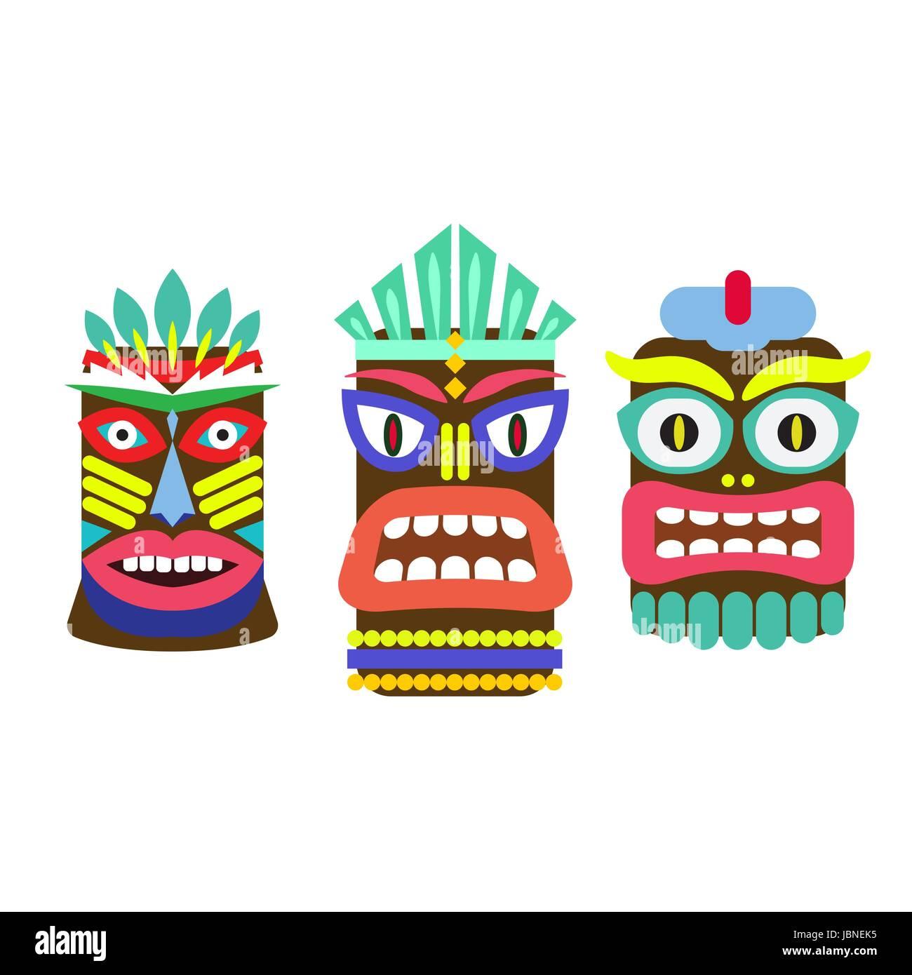 Tiki mask cartoon vector set. Hawaiian bar decorations isolated on white. - Stock Vector