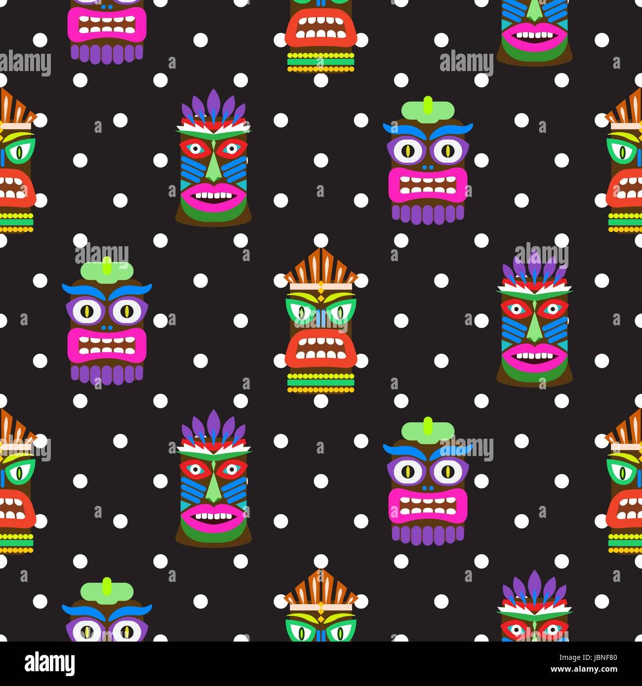 Tiki mask seamless polka dot dark pattern vector. Hawaiian culture black and white background. - Stock Vector