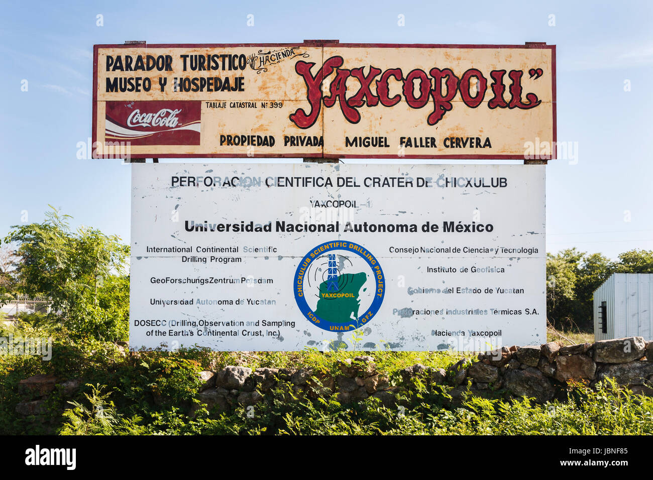 Drilling program sign marking the site of the Chicxulub Crater in Yucatan, Mexico - Stock Image