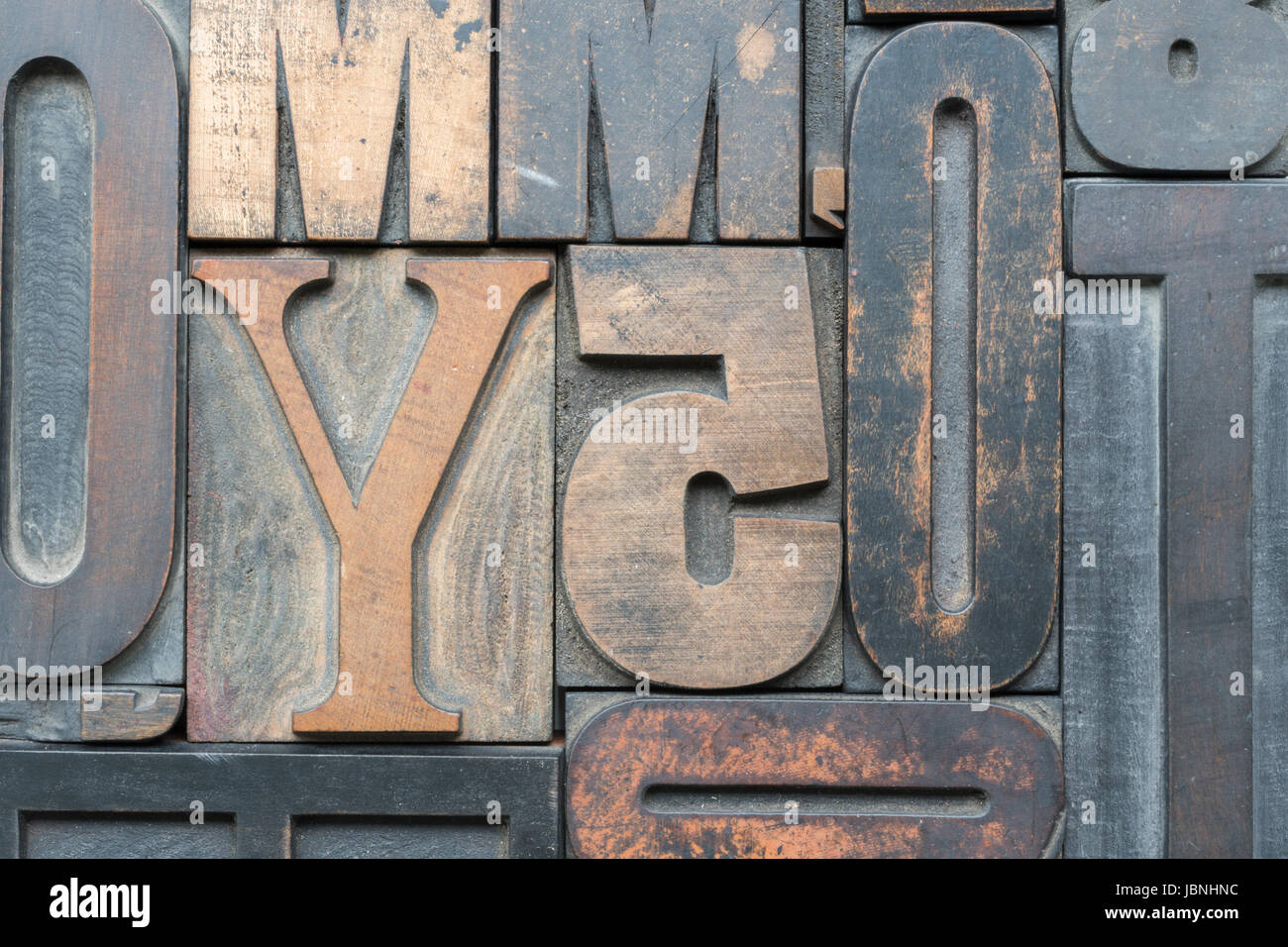 Old letterpress printing blocks in printers tray Stock Photo