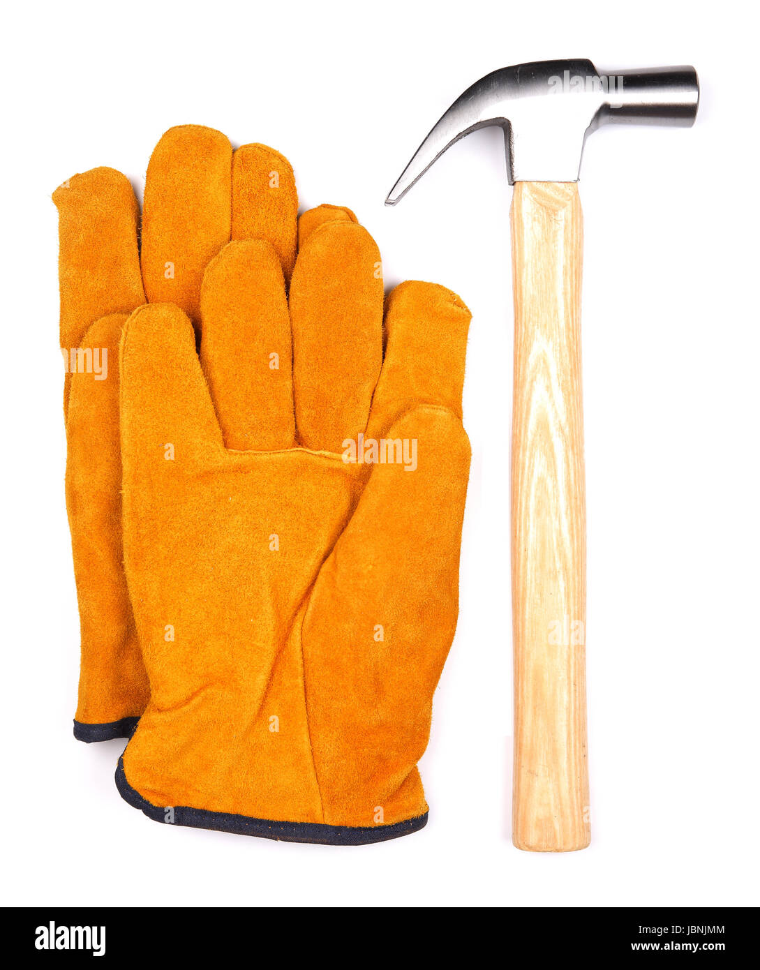 The Hammer tool with orange suede working gloves isolated on a white background - Stock Image