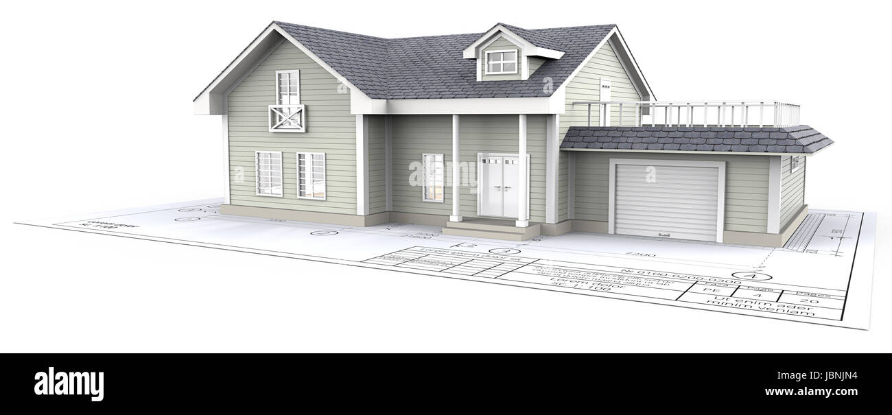 Green Generic House ontop of Blueprint. 3D render. - Stock Image