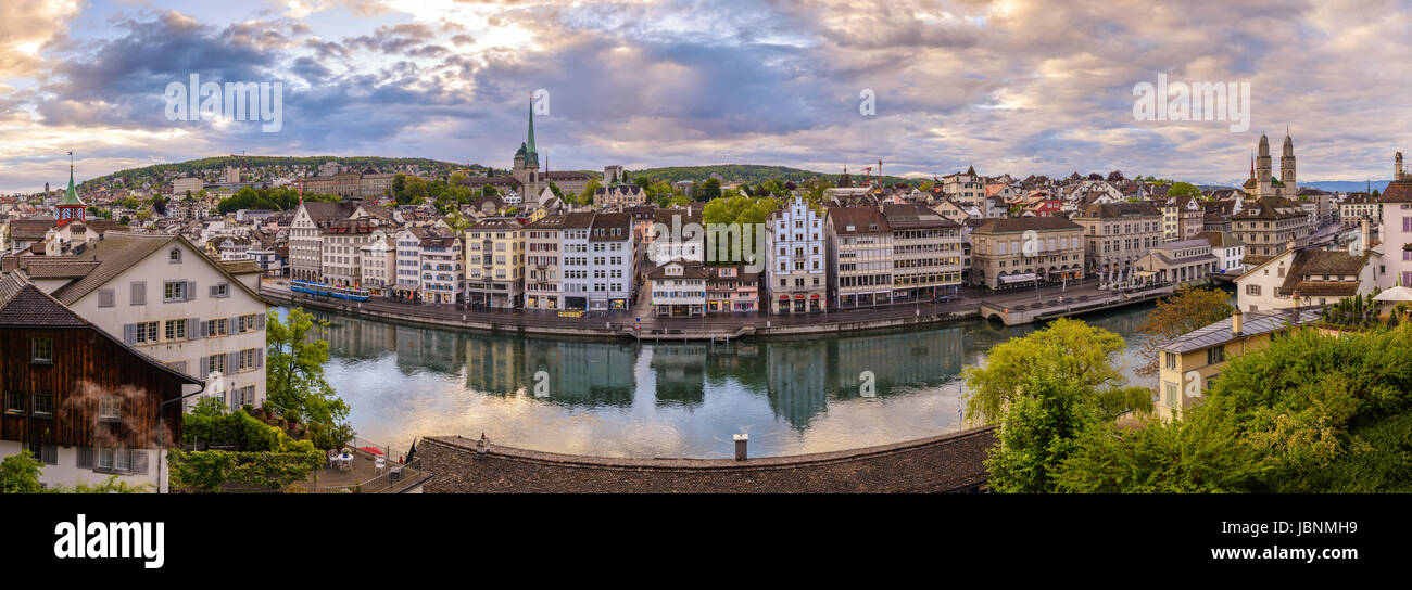Zurich city skyline panorama at Limmat River and Grossmunster Church, Zurich, Switzerland - Stock Image