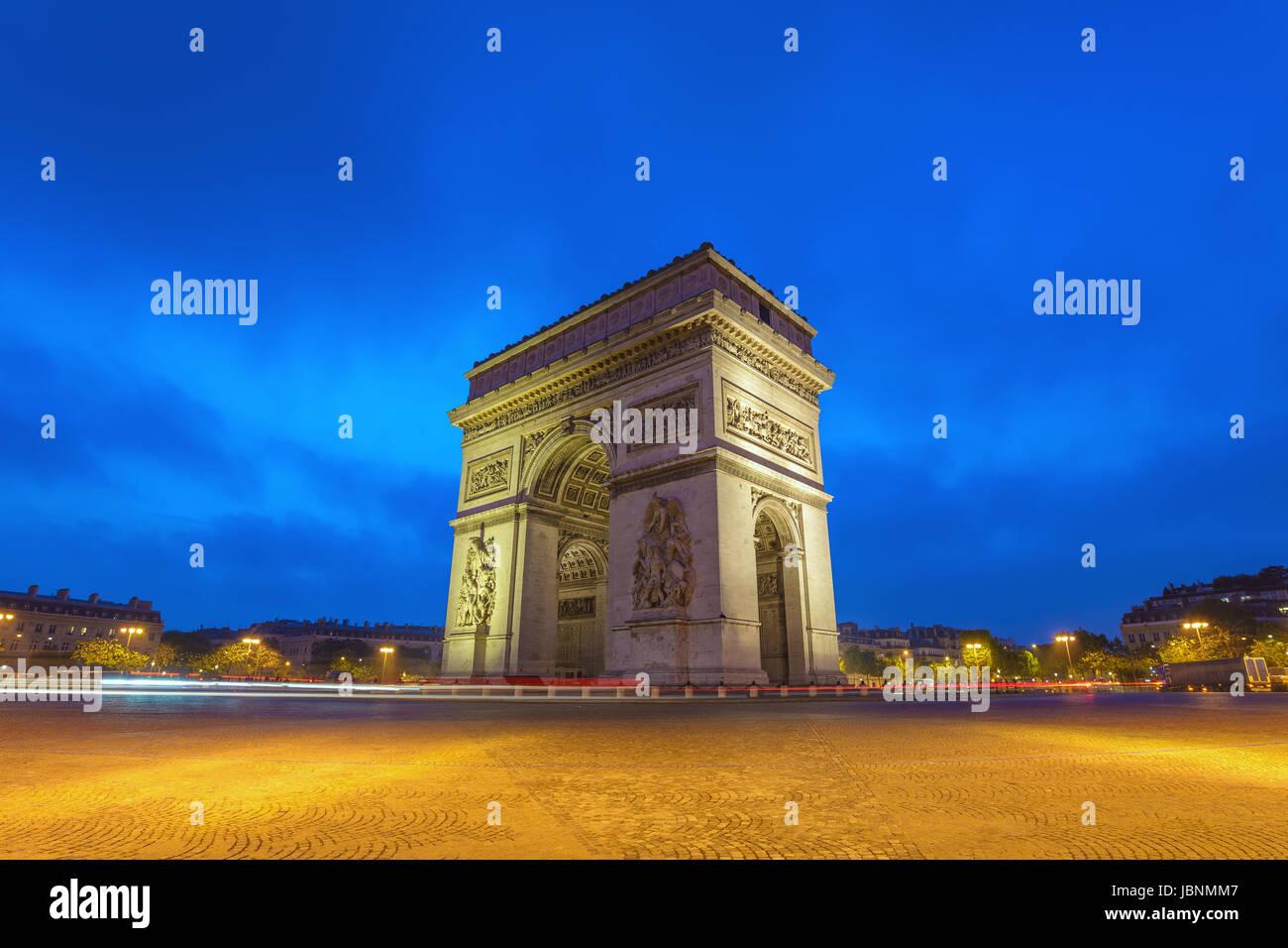 Paris city skyline at Arc de Triomphe and Champs Elysees when sunrise, Paris, France - Stock Image
