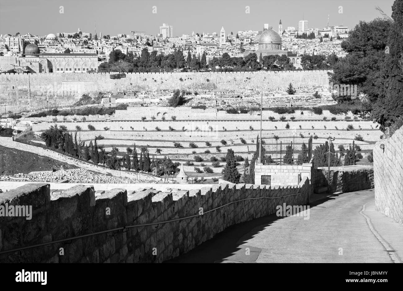 Jerusalem - Outlook from Mount of Olives to old city with the Dom of Rock, church of Redeemer, Basilica of Holy - Stock Image