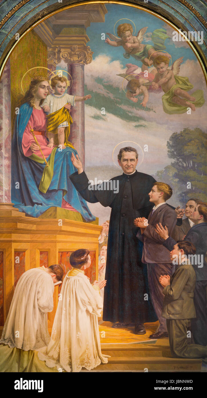 TURIN, ITALY - MARCH 15, 2017: The painting of Don Bosco and Mary Help of Christians in church Basilica Maria Ausiliatrice - Stock Image