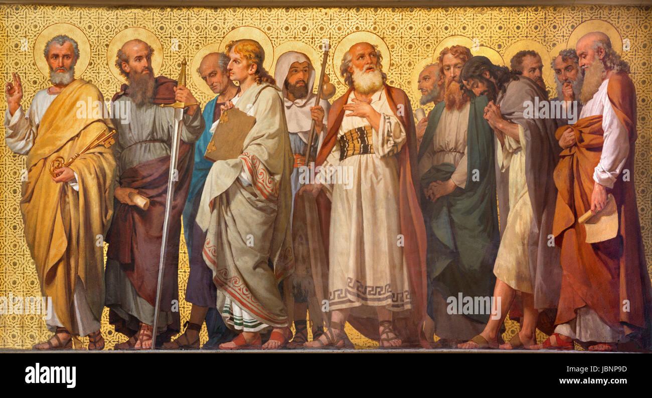 TURIN, ITALY - MARCH 15, 2017: The symbolic fresco of Twelve apostles  in church Chiesa di San Dalmazzo by Enrico - Stock Image