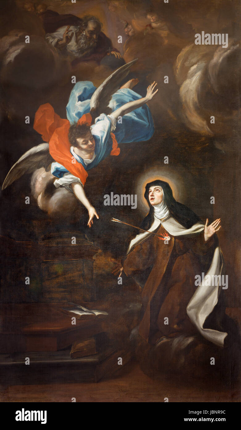 TURIN, ITALY - MARCH 13, 2017: The painting of Trasverberazione (mystical experience) di Santa Teresa d'Avila (1640) - Stock Image