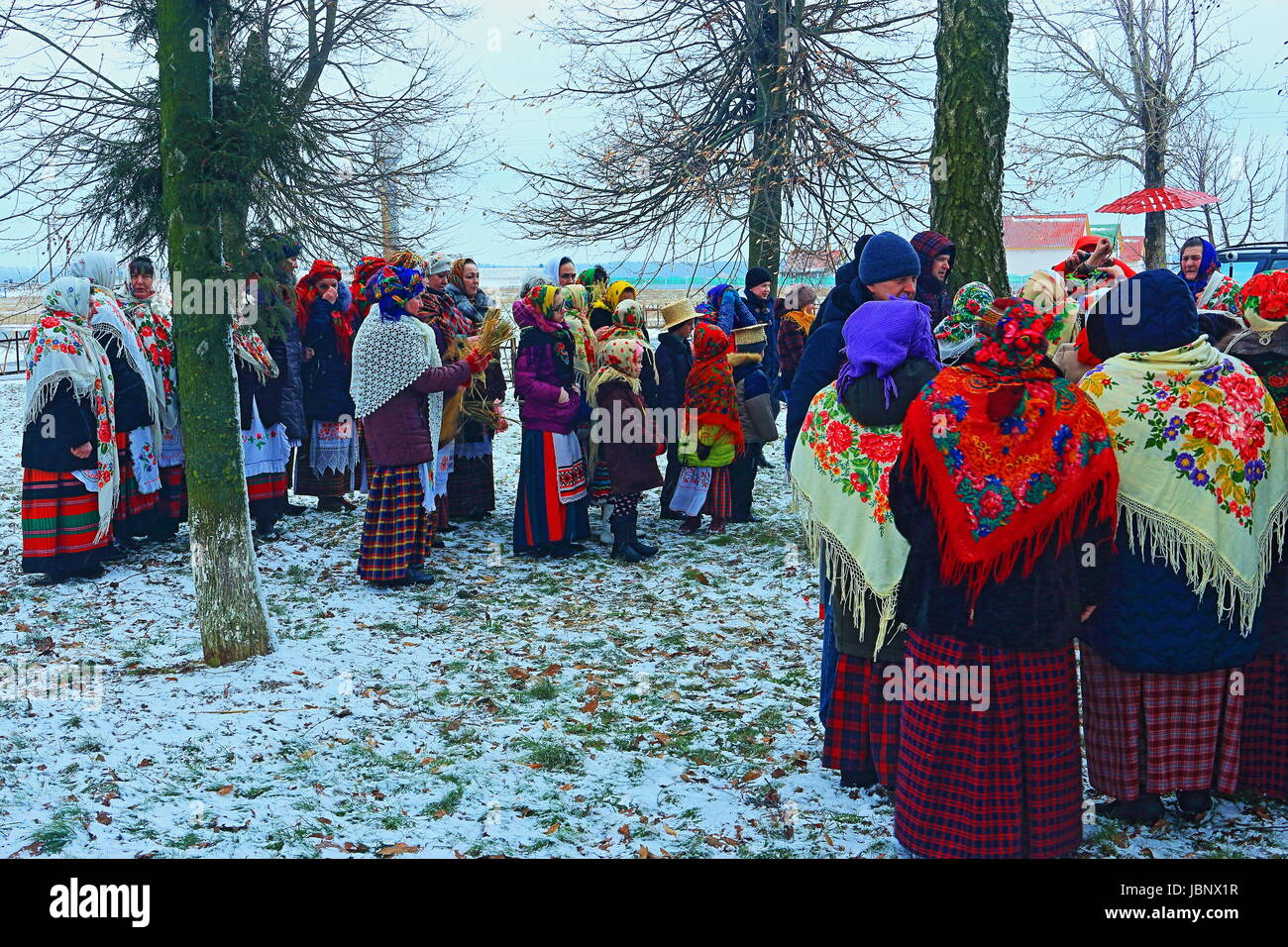 Maslenitsa in the Belarusian village (agro-town). Eastern Slavic religious and folk holiday, celebrated during the Stock Photo