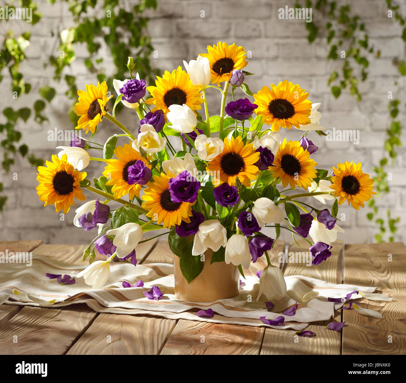 Bouquet Of Flowers With Sunflowers, Tulips And Hibiscus