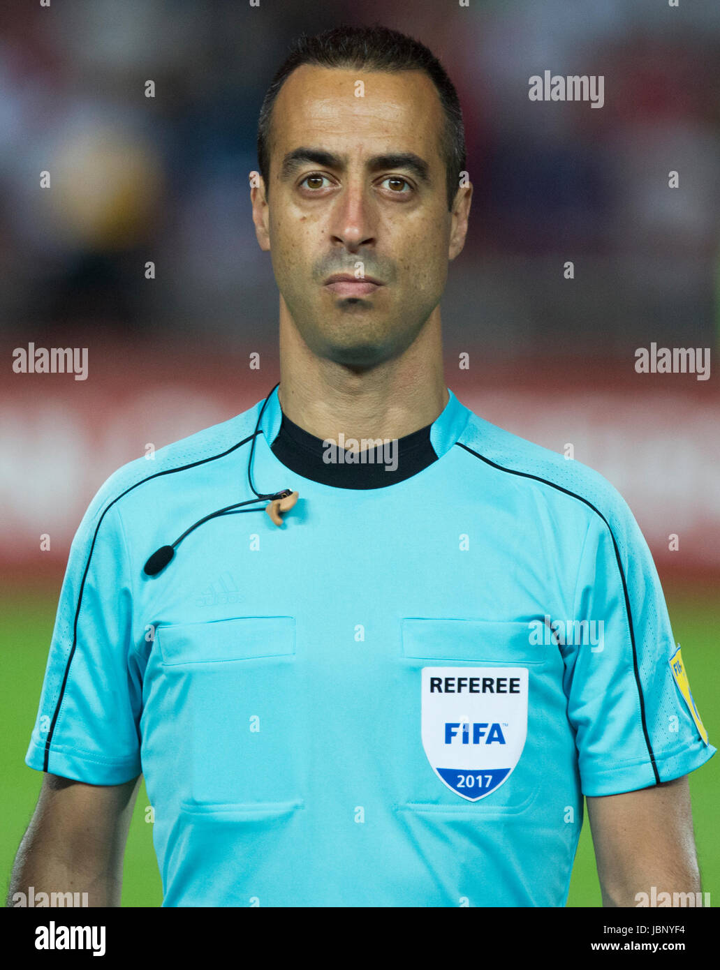BELGRADE, SERBIA - JUNE 11, 2017: Referee Manuel De Sousa looks on during the national anthem during the 2018 FIFA - Stock Image