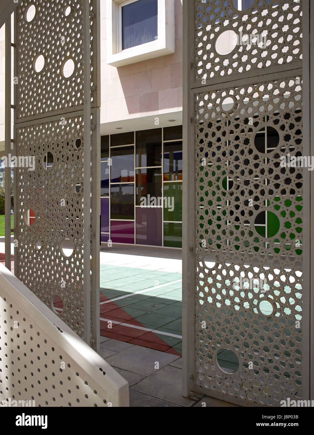 Looking Through Metal Jali. Victory Heights Primary School, Dubai, United  Arab Emirates. Architect: R+D Studio , 2016.