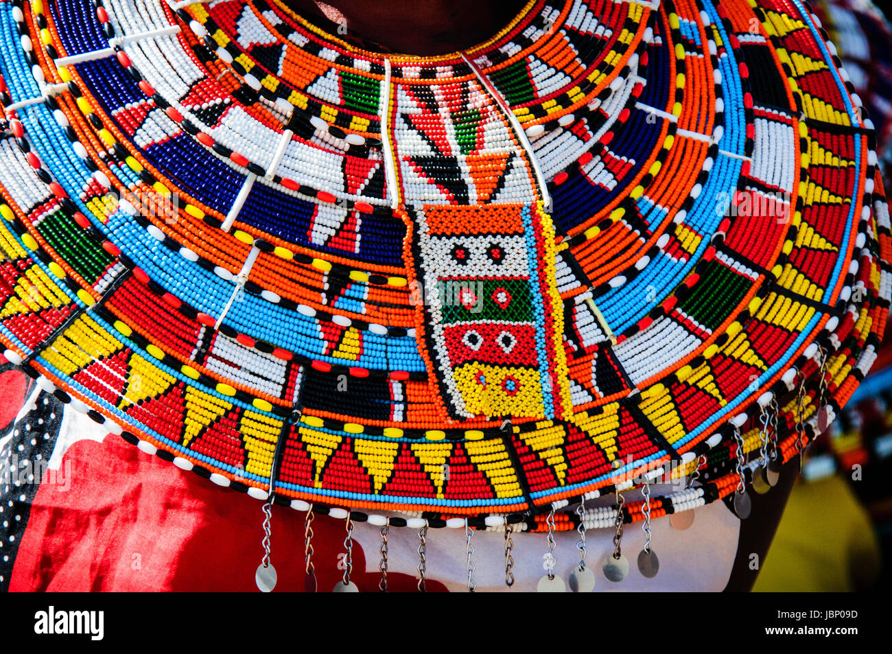 Colorful traditional beaded necklace worn by Samburu Maasai women in Northern Kenya, East Africa - Stock Image