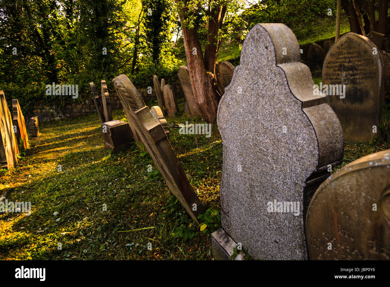 A graveyard on the valley side above Hebden Bridge, Calderdale,  West Yorkshire, Englan, UK - Stock Image