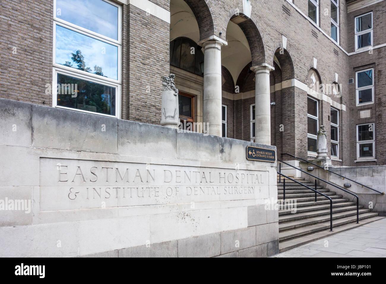 Sign outside entrance to Eastman Dental Hospital, Institute of Dental Surgery, University College London Hospitals - Stock Image