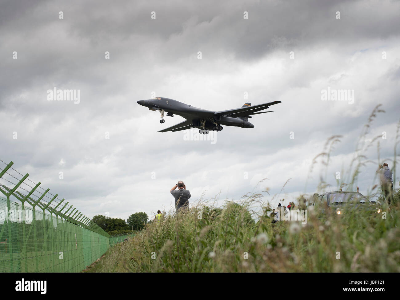 A US Air Force B1 Bomber makes an emergency landing at RAF Fairford, Gloucestershire, 12th June 2017. - Stock Image