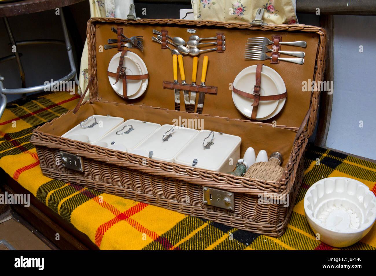A vintage picnic basket - Stock Image