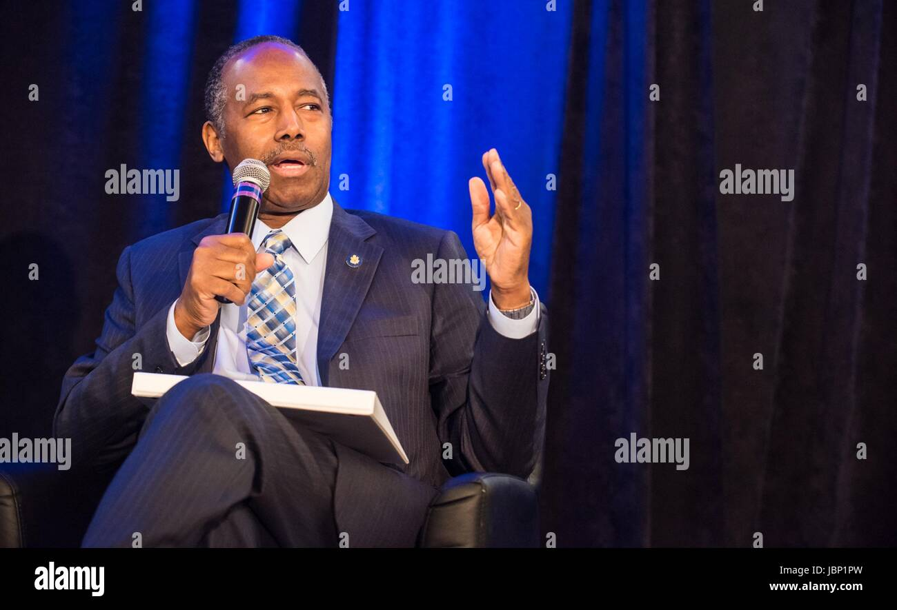 U.S. Secretary of Housing and Urban Development Ben Carson speaks at the National Housing Conference June 9, 2017 Stock Photo