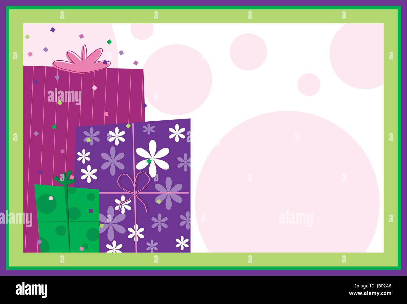 Presents - Birthday Presents on colorful confetti and polka dot background Stock Vector