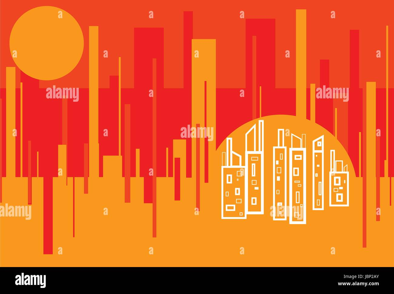 Red Hot City - Abstract Cityscape background featuring analogous red, orange, yellow color scheme - Stock Image