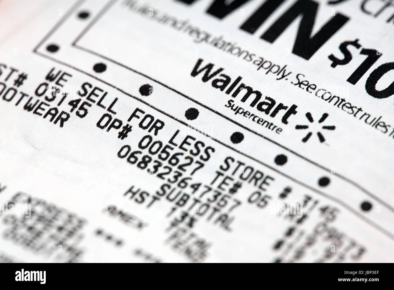walmart superstore receipt close up featurin we sell for less stock