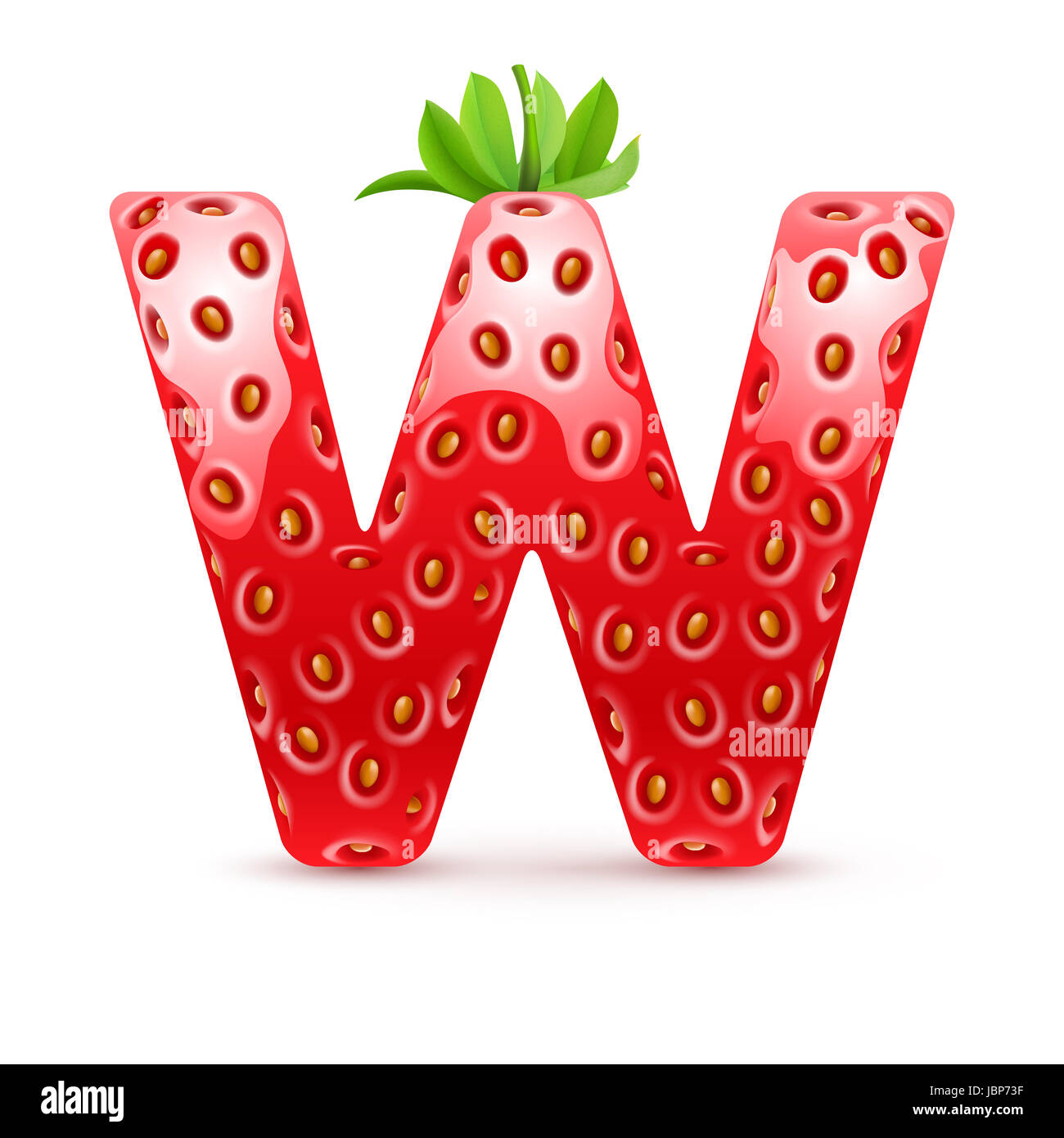 Letter W In Strawberry Style With Green Leaves