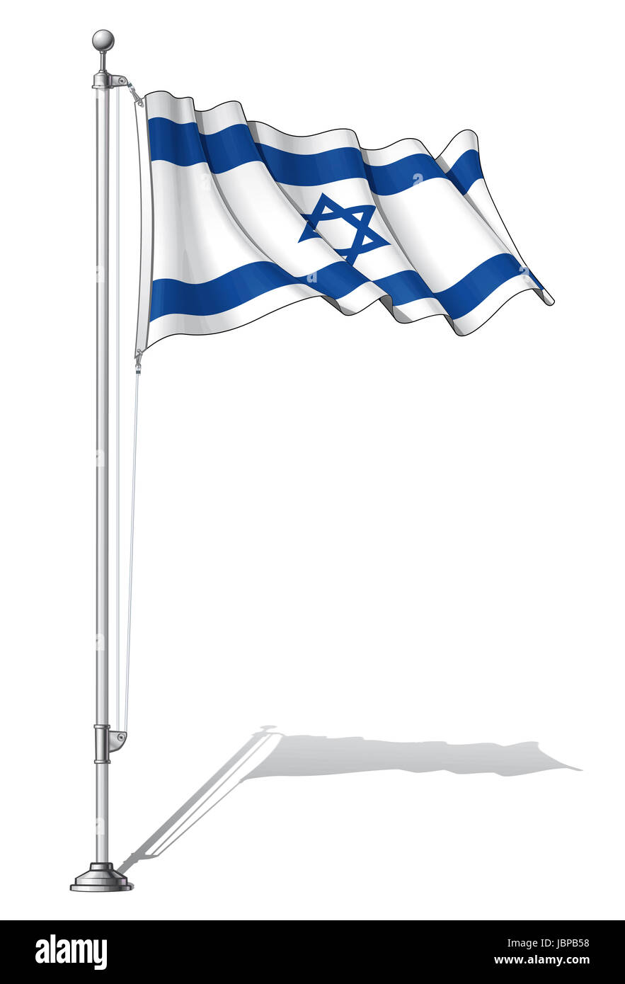 Vector Illustration of a waving Israeli flag fasten on a flag pole. Flag and pole in separate layers, line art, - Stock Image