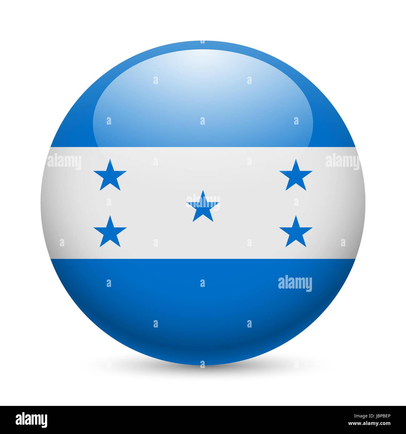 Flag of Honduras as round glossy icon. Button with Honduran flag Stock Photo