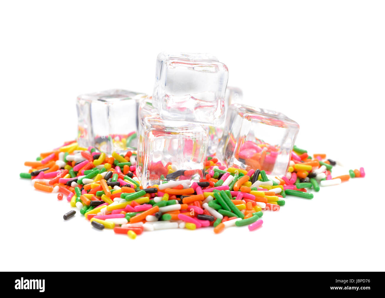 ice on colorful eatable sugar for food decoration - Stock Image