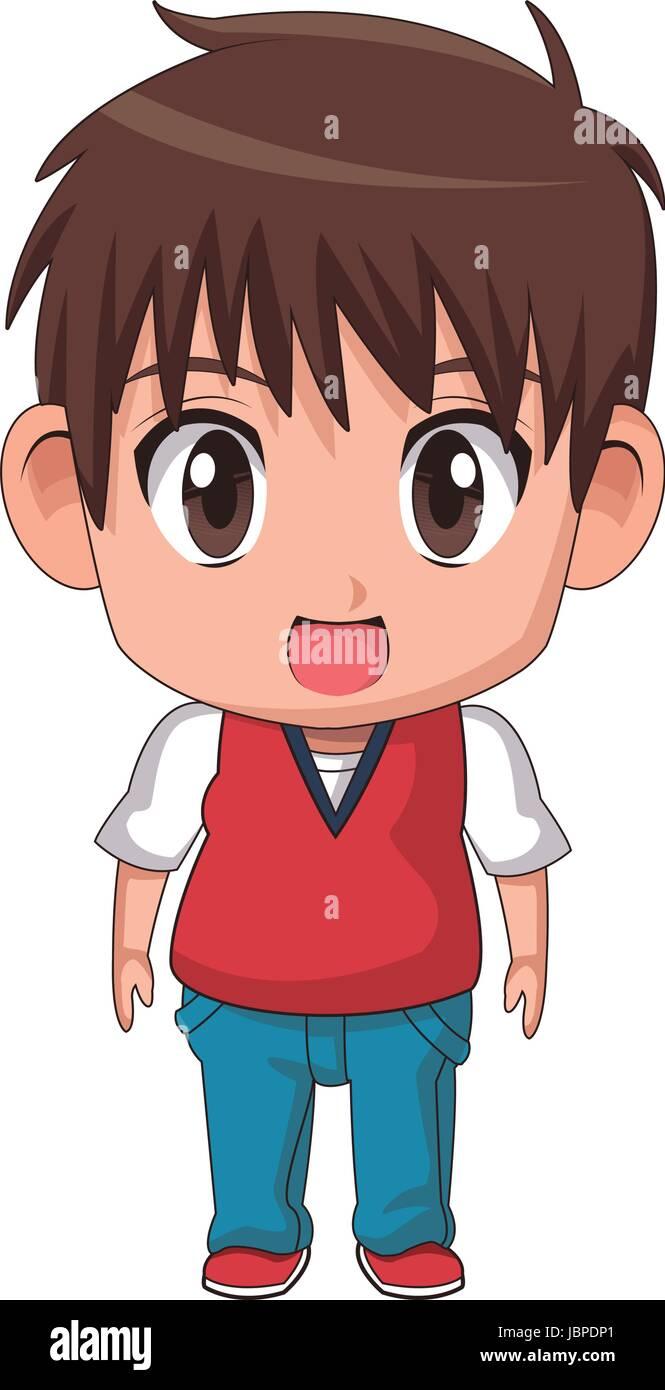 Cute Little Boy Anime Facial Expression Image Stock Vector Art