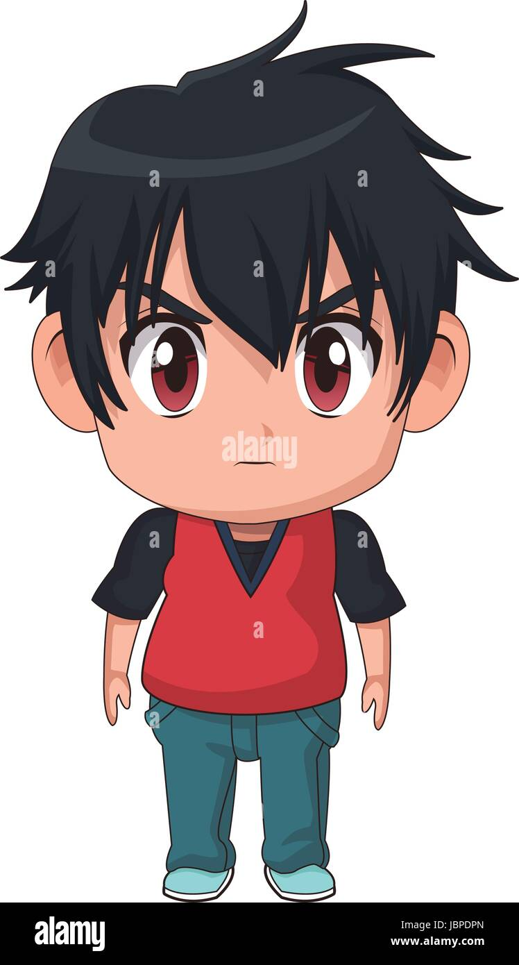 Cute Little Boy Anime Facial Expression Image Stock Vector Image Art Alamy
