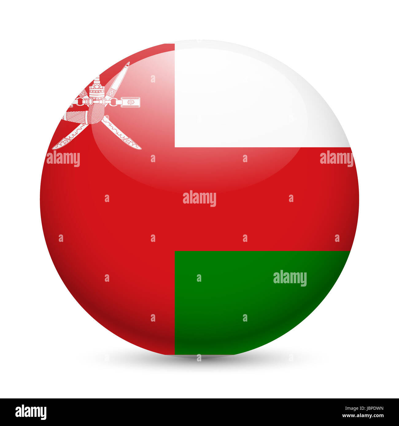 Flag of Oman as round glossy icon. Button with Omani flag - Stock Image