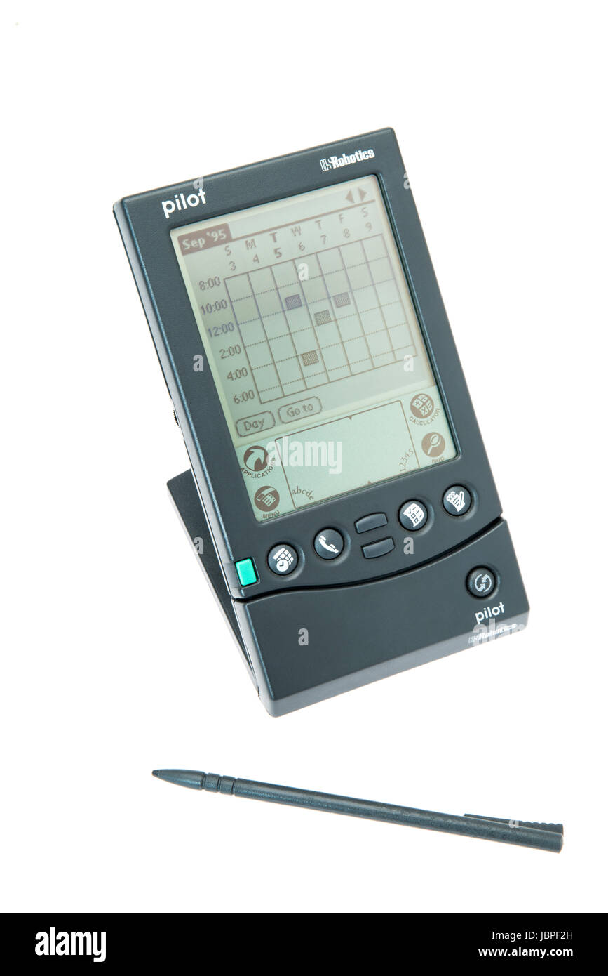 Pilot 1000 PDA released 1996 by Palm Inc subsidiary or U.S. Robotics  with stylus Palm Pilot aka PalmPilot aka Palm - Stock Image