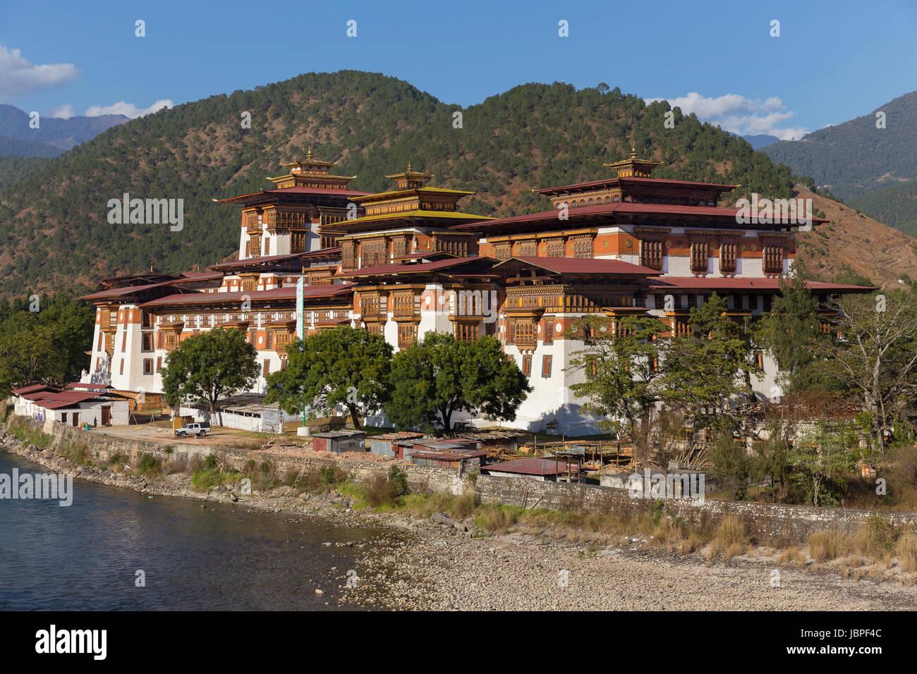 Punakha Dzong (Palace of Great Happiness), Bhutan - Stock Image