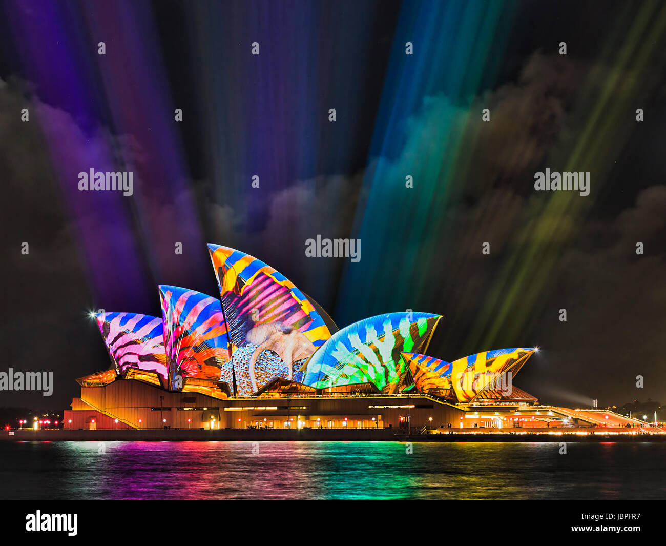 Sydney, Australia - 8 June 2017: Sydney Opera house with colourful saturaged projected of artistic image under bright - Stock Image