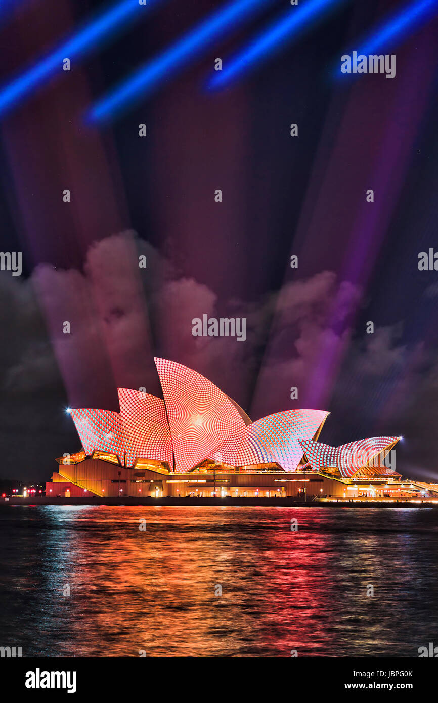 Sydney, Australia - 8 June 2017: Sydney Opera house with projected light image on its side during Vivid Sydney light Stock Photo