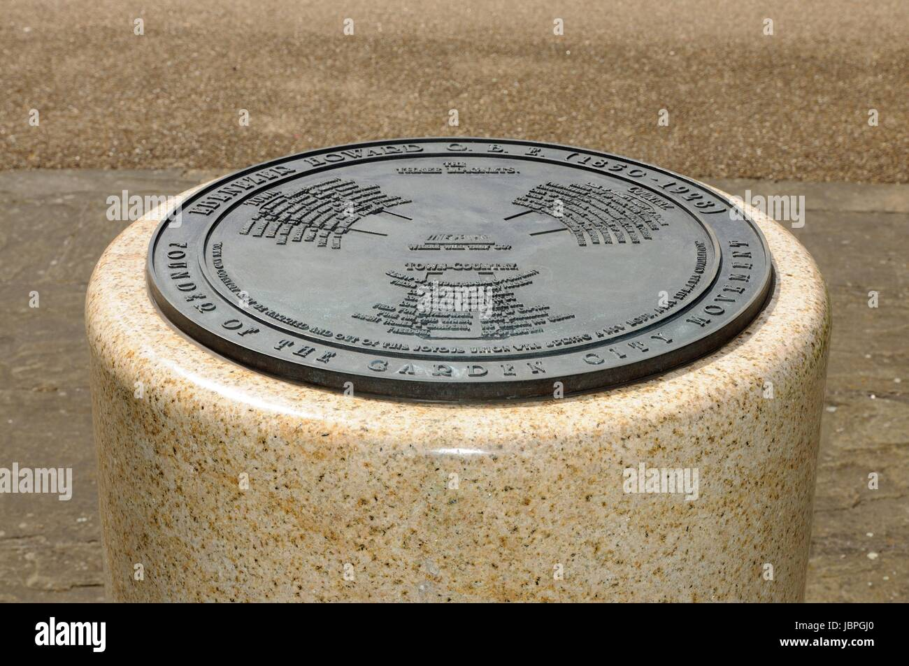 Plaque Commemorating Ebenezer Howard The Founder Of The Garden City Stock Photo Alamy