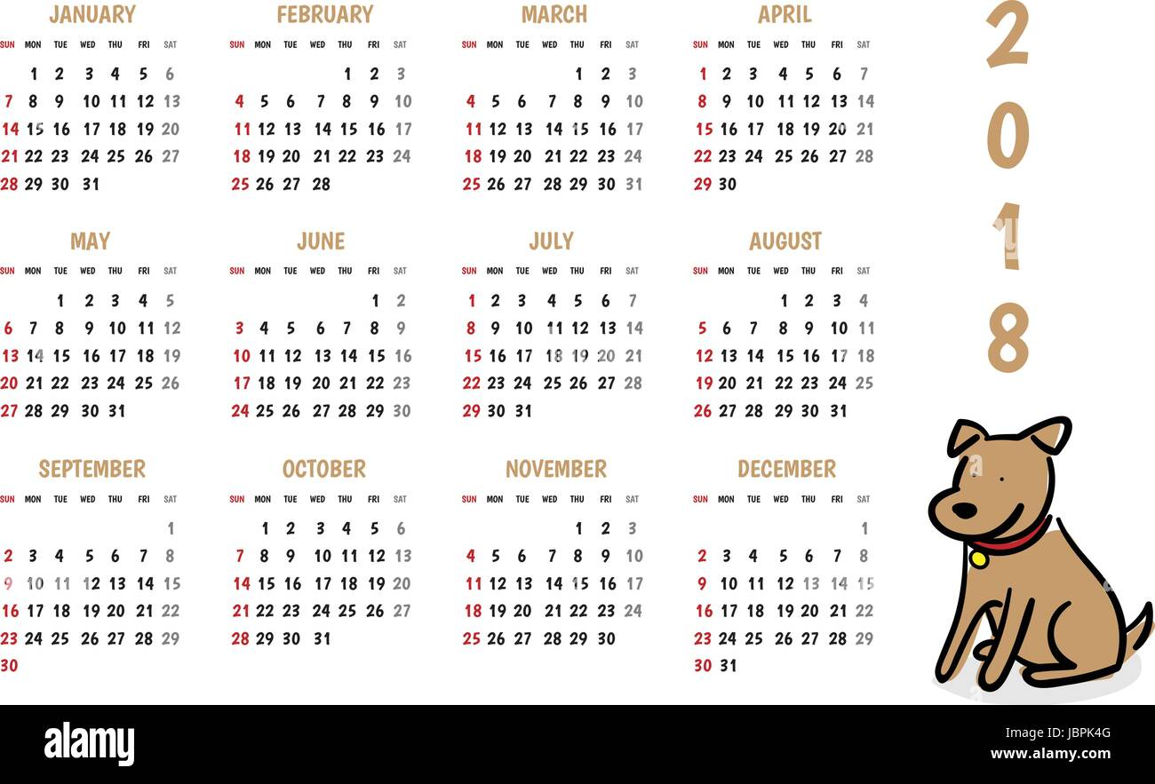 2018 dog new year vector calendar with cute doodle cartoon styleholiday event plannerweek starts sunday