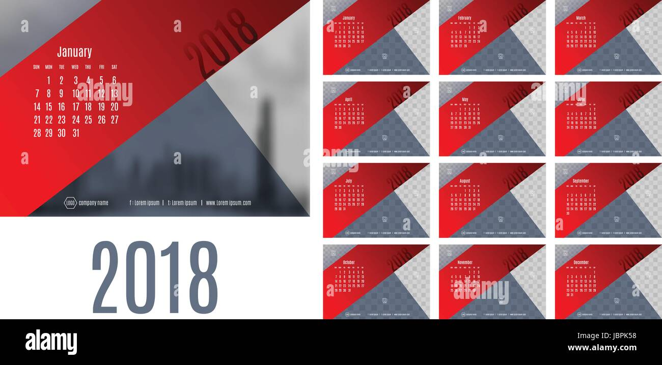 Vector Of Calendar New Year 2018 12 Month Calendar With Modern Red