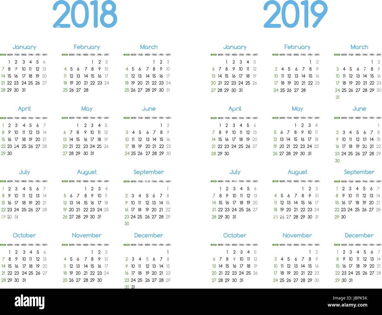 new year 2018 and 2019 vector calendar modern simple design with round san serif fontholiday event plannerweek starts sunday