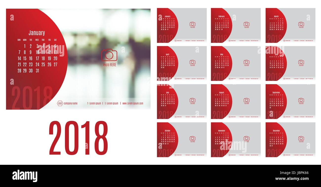 vector of calendar 2018 year 12 month calendar with modern styleweek start at sundaytemplate for place your photo