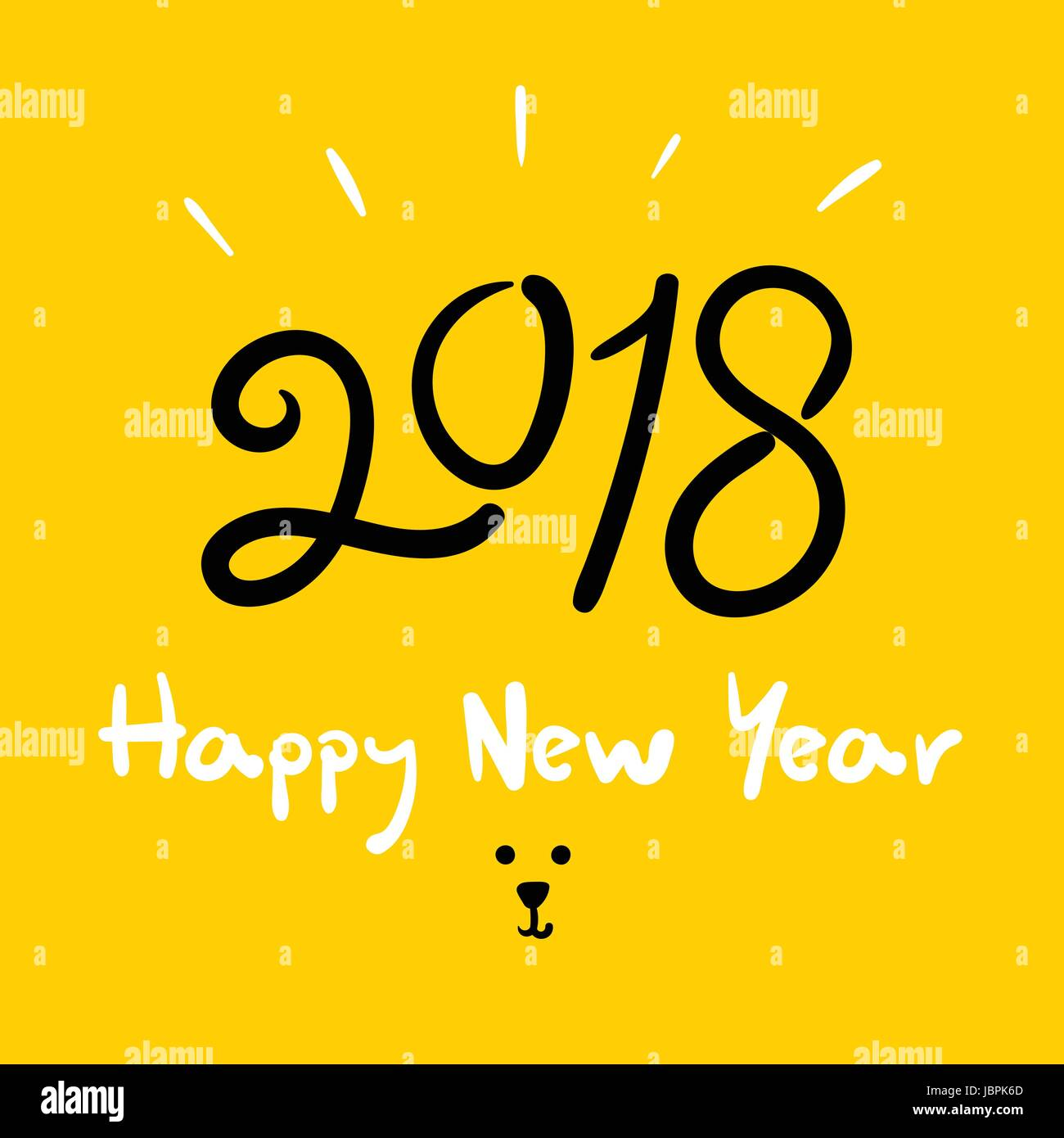 happy new year 2018 dog year doodle handwriting brush on bright yellow background holiday greeting card