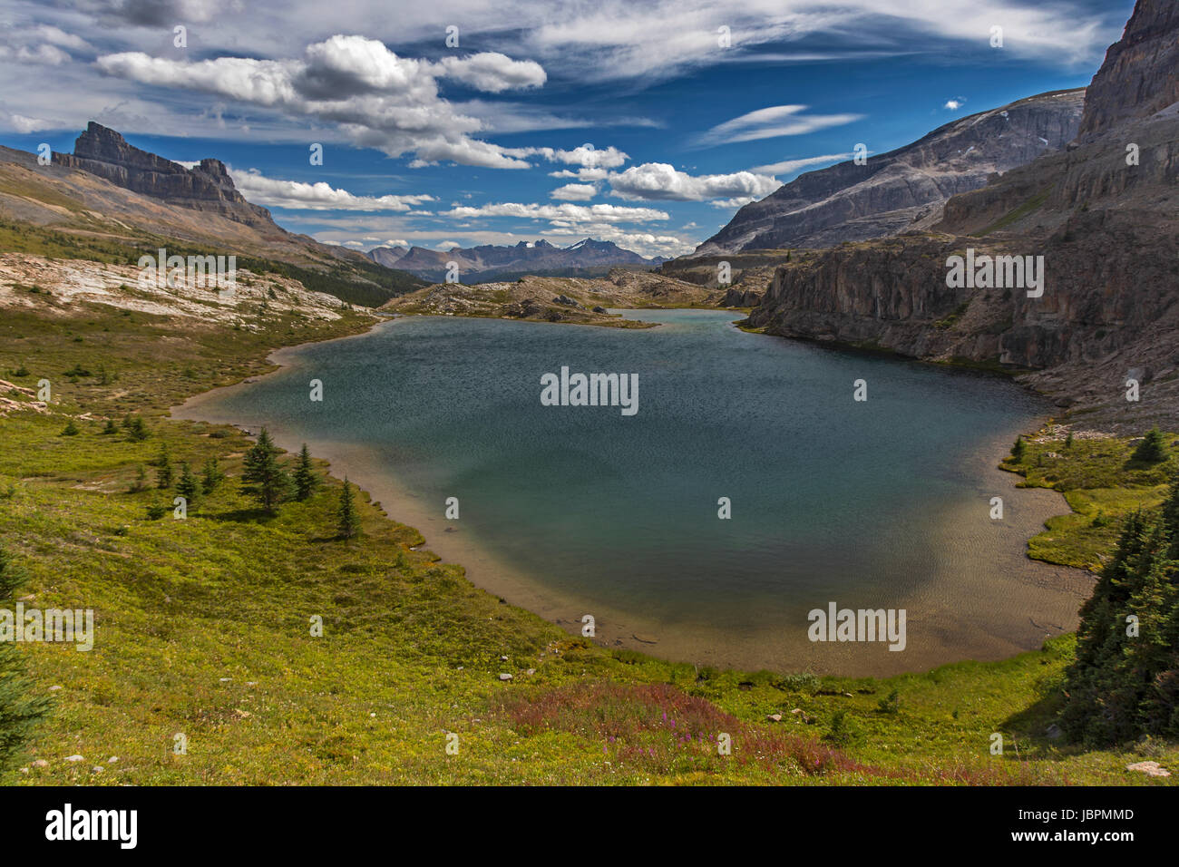 Unnamed Mountain Lake south of Molar Pass in Banff National Park Canadian Rocky Mountains - Stock Image