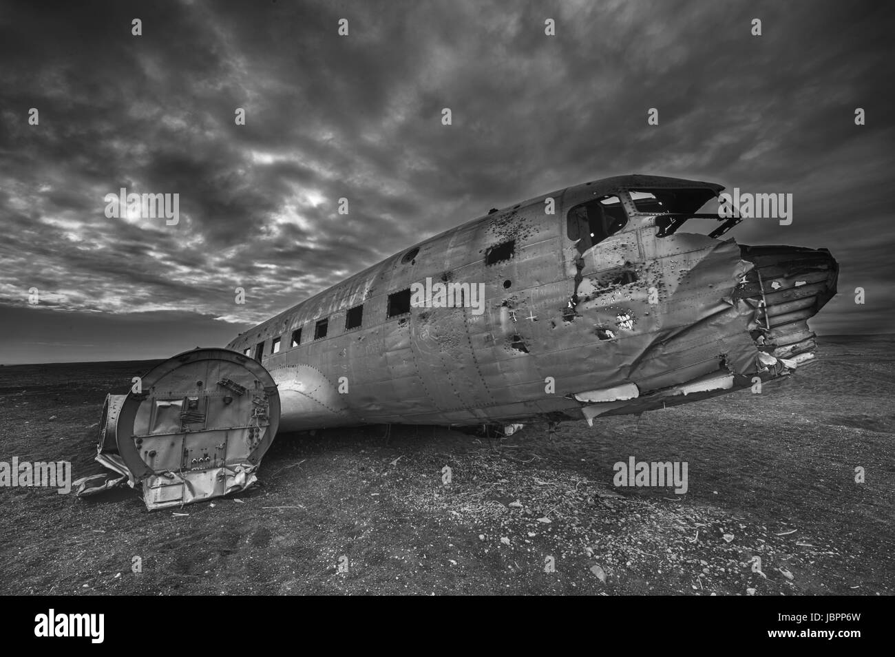 Wreck of a US military plane crashed in the middle of the nowhere. The plane ran out of fuel and crashed in a desert - Stock Image
