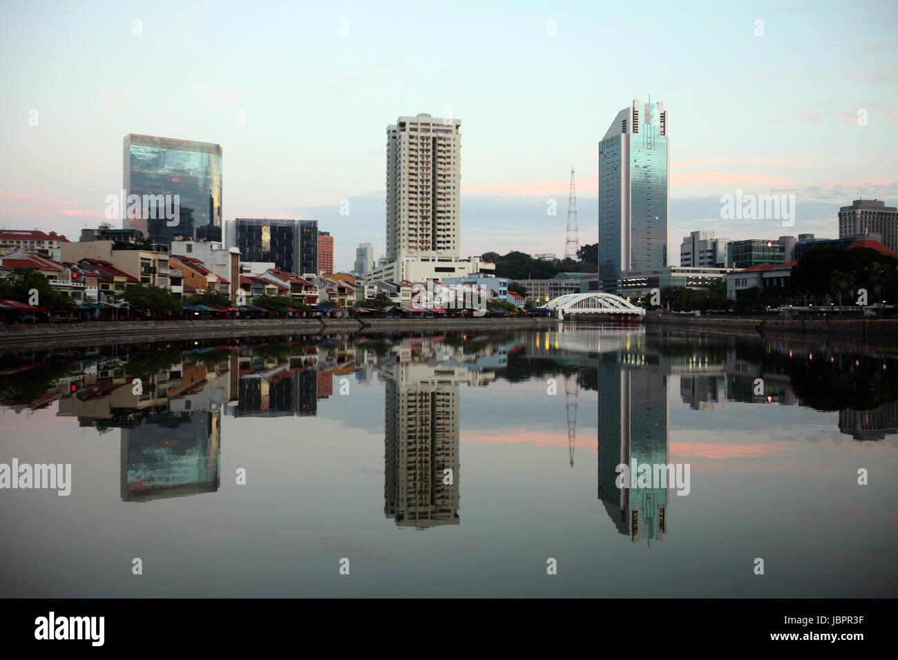 Asien, Suedost, Singapur, Insel, Staat, Stadt, City, Skyline, Zentrum, Boat Quay, Bankenviertel, Nacht, Singapore Stock Photo
