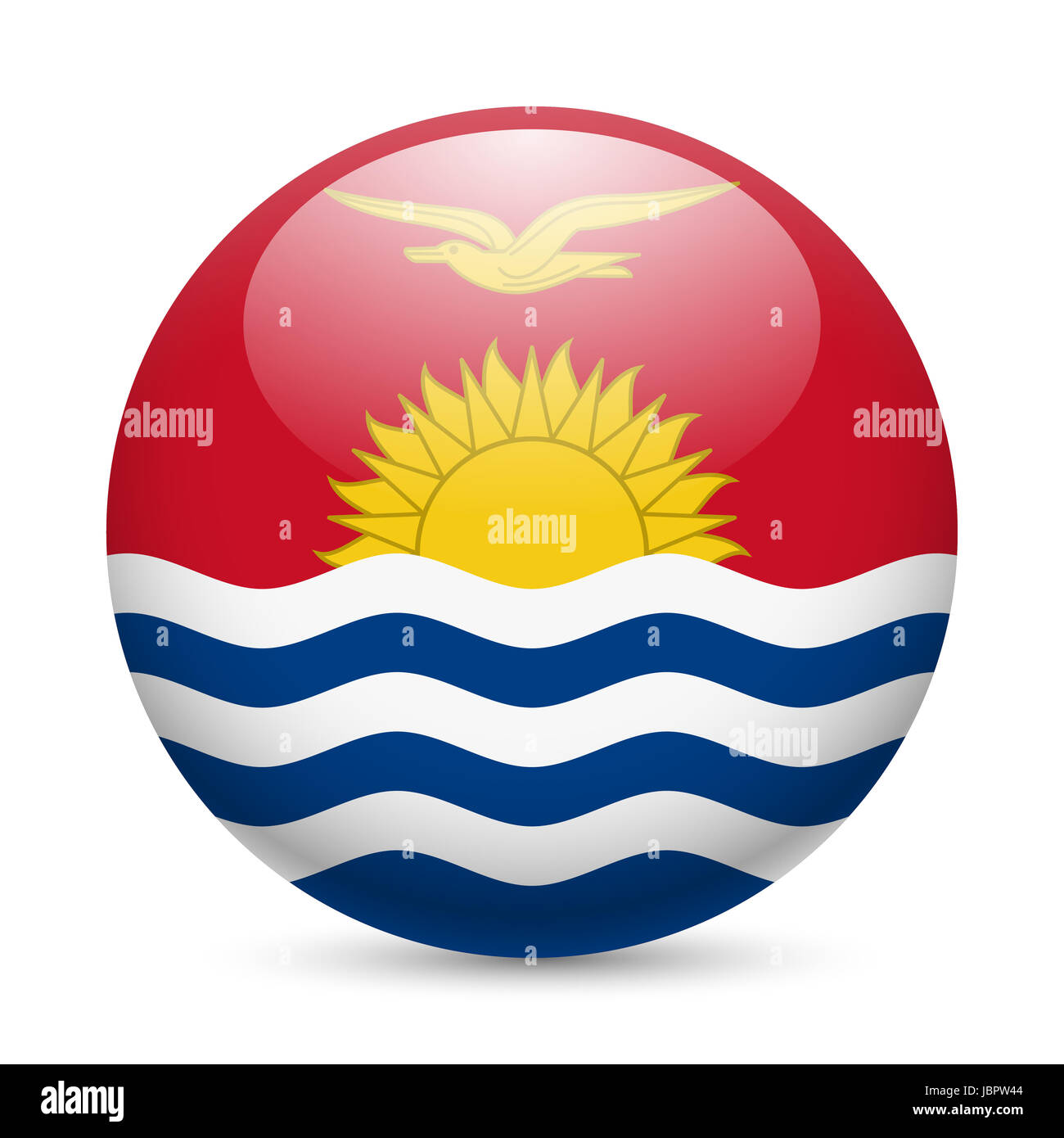 Flag of Kiribati as round glossy icon. Button with flag design - Stock Image